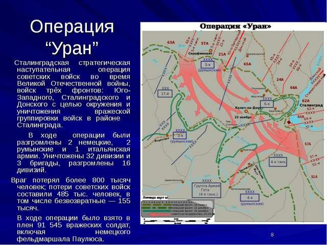 """Операция """"Уран"""" Сталинградская стратегическая наступательная операция советск..."""