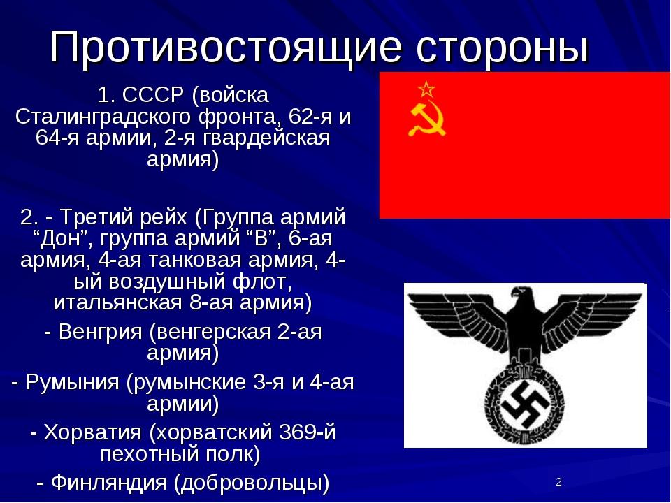 Противостоящие стороны 1. СССР (войска Сталинградского фронта, 62-я и 64-я ар...