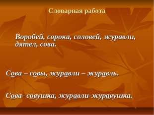 Словарная работа Воробей, сорока, соловей, журавли, дятел, сова. Сова – совы,