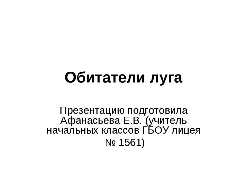 Обитатели луга Презентацию подготовила Афанасьева Е.В. (учитель начальных кла...