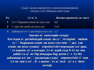 Анализ нәтижелерін талдау Кестеден көретініміздей алынған су үлгілерінің іші