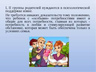 I, II группы родителей нуждаются в психологической поддержке извне. Не требуе