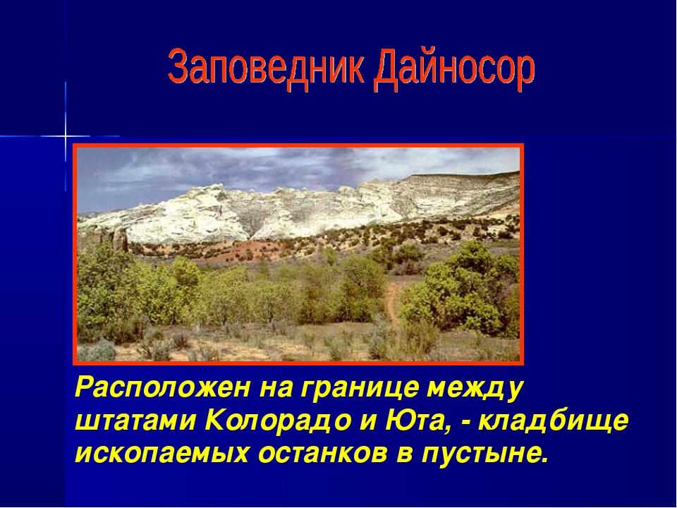 Расположен на границе между штатами Колорадо и Юта, - кладбище ископаемых ост...