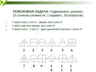 ПОИСКОВАЯ ЗАДАЧА «Одинаковое, разное» (3 степени сложности, 1 вариант, 18 воп