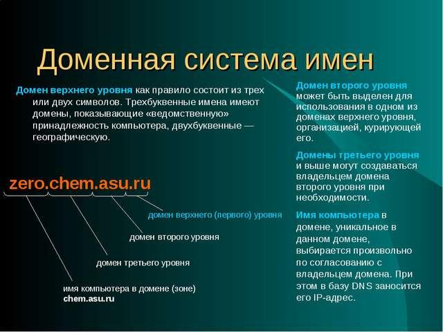 Доменная система имен Домен верхнего уровня как правило состоит из трех или д...