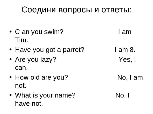 Cоедини вопросы и ответы: C an you swim? I am Tim. Have you got a parrot? I a...