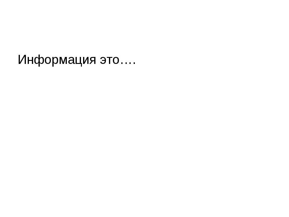 Информация это….