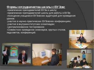 Формы сотрудничества школы с ВУЗом: -привлечение преподавателей ВУЗа в школу;