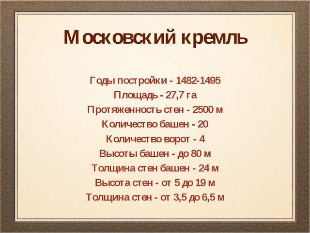 Московский кремль Годы постройки - 1482-1495 Площадь - 27,7 га Протяженность...