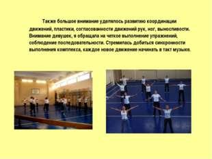Также большое внимание уделялось развитию координации движений, пластики, с