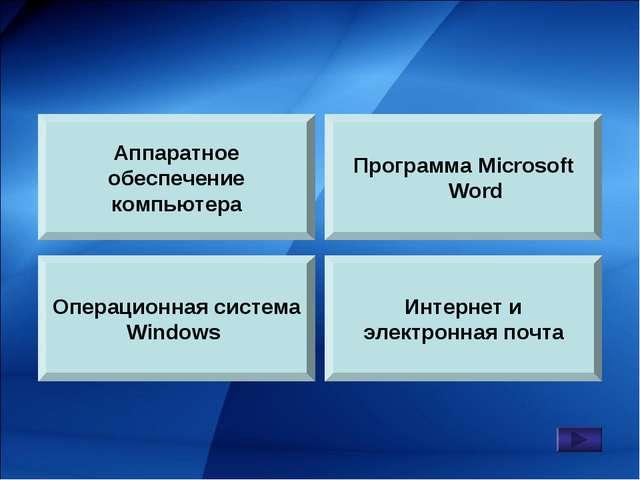 Аппаратное обеспечение компьютера Операционная система Windows Программа Micr...
