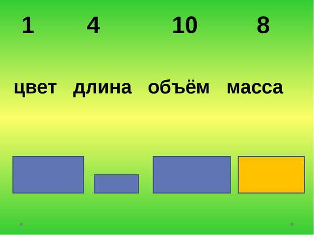 1 4 10 8 цвет длина объём масса
