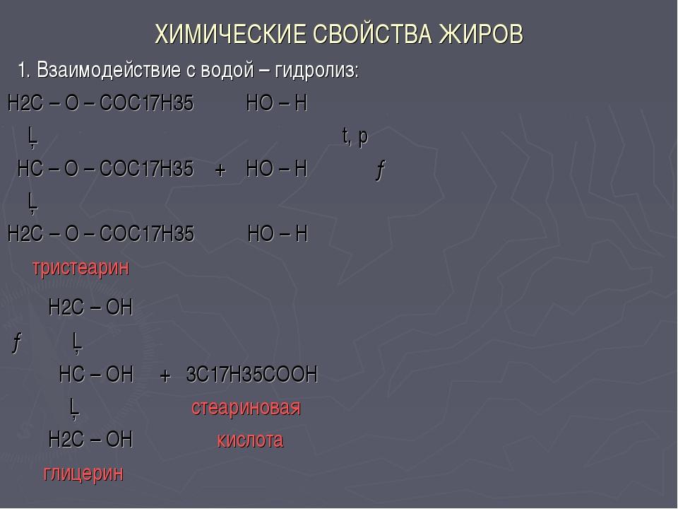 ХИМИЧЕСКИЕ СВОЙСТВА ЖИРОВ 1. Взаимодействие с водой – гидролиз: H2C – O – COC...