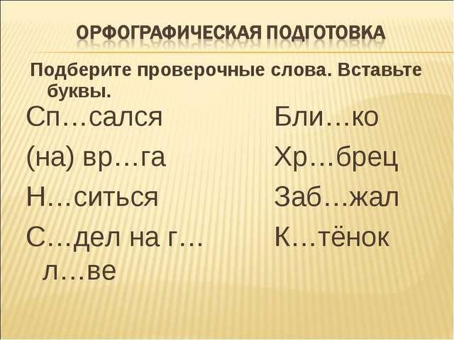 Подберите проверочные слова. Вставьте буквы. Сп…сался (на) вр…га Н…ситься С…д...
