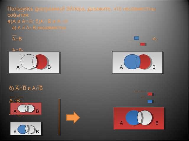 Пользуясь диаграммой Эйлера, докажите, что несовместны события: а)А и А∩B; б)...