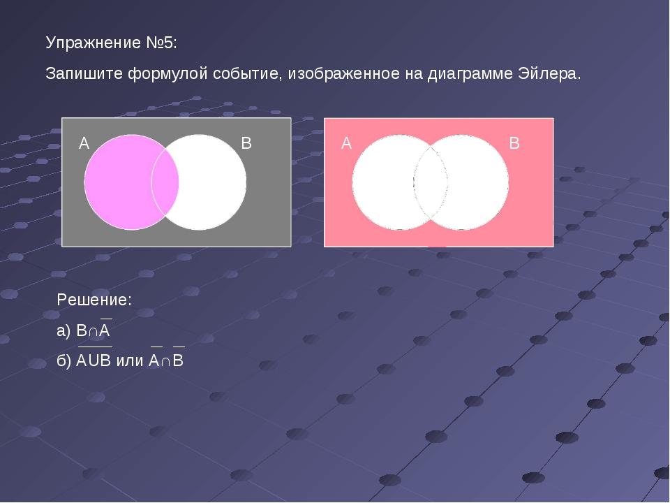 Упражнение №5: Запишите формулой событие, изображенное на диаграмме Эйлера. А...