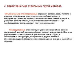 7. Характеристика отдельных групп методов Объяснительно-иллюстративные отража