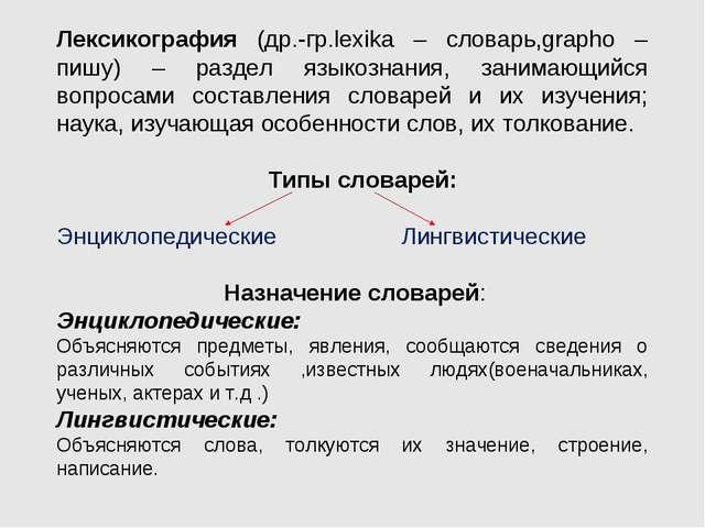 Лексикография (др.-гр.lexika – словарь,grapho –пишу) – раздел языкознания, за...