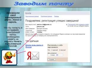 Запомните свой электронный адрес, логин и пароль. Что бы попасть в интерфейс