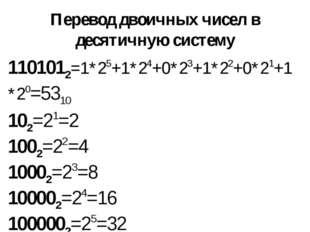 Перевод двоичных чисел в десятичную систему 102=21=2 1002=22=4 10002=23=8 100
