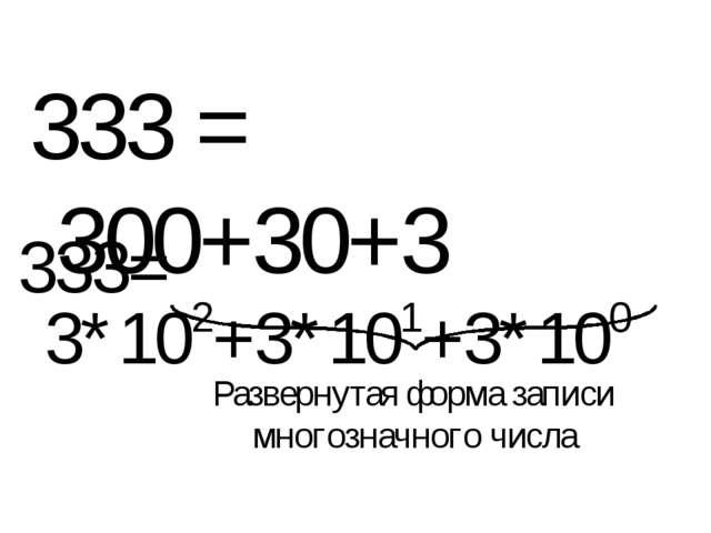 333 = 300+30+3 333= 3*102+3*101+3*100 Развернутая форма записи многозначного...