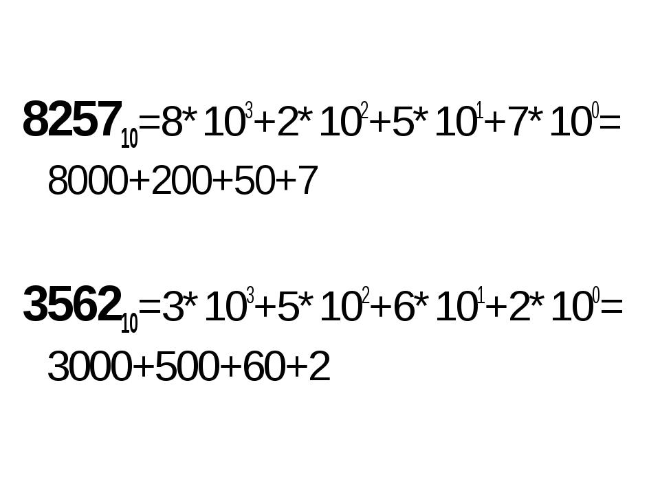 825710=8*103+2*102+5*101+7*100=8000+200+50+7 356210=3*103+5*102+6*101+2*100=3...
