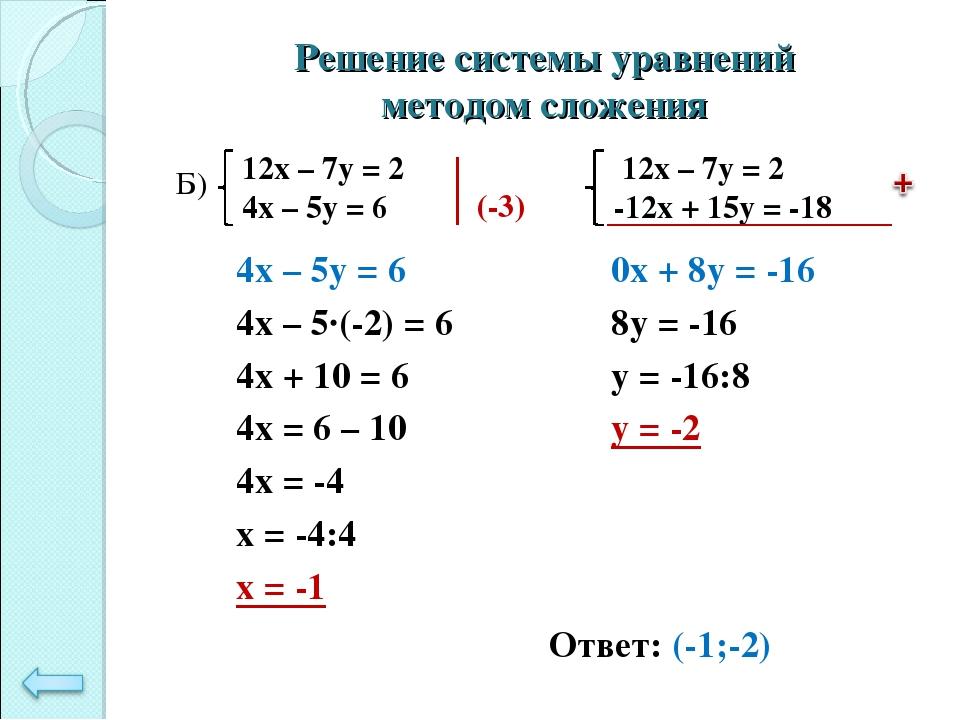 Решение системы уравнений методом сложения 4х – 5у = 6 4х – 5·(-2) = 6 4х + 1...