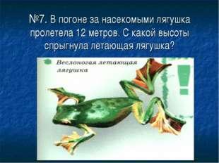 №7. В погоне за насекомыми лягушка пролетела 12 метров. С какой высоты спрыгн