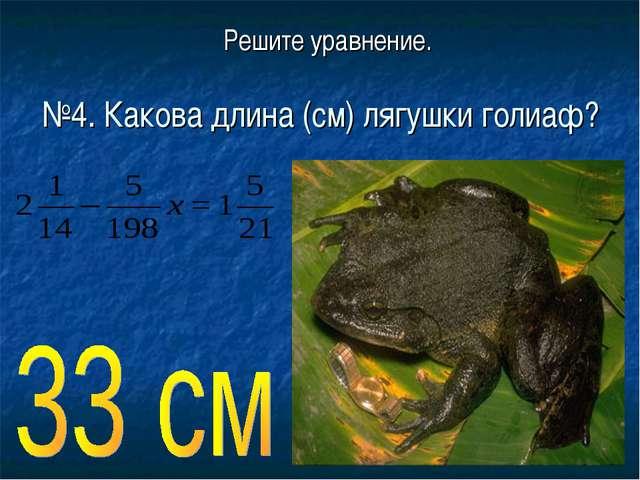 Решите уравнение. №4. Какова длина (см) лягушки голиаф?