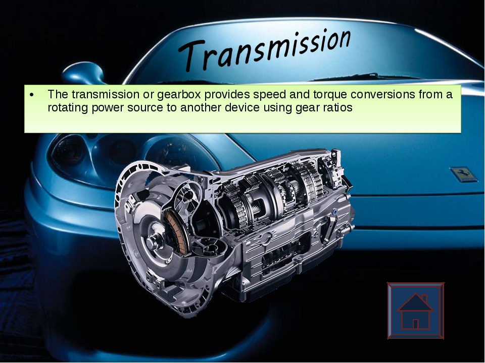 The transmission or gearbox provides speed and torque conversions from a rota...