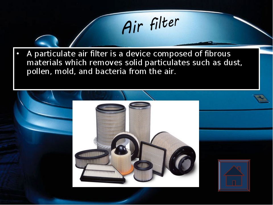 A particulate air filter is a device composed of fibrous materials which remo...