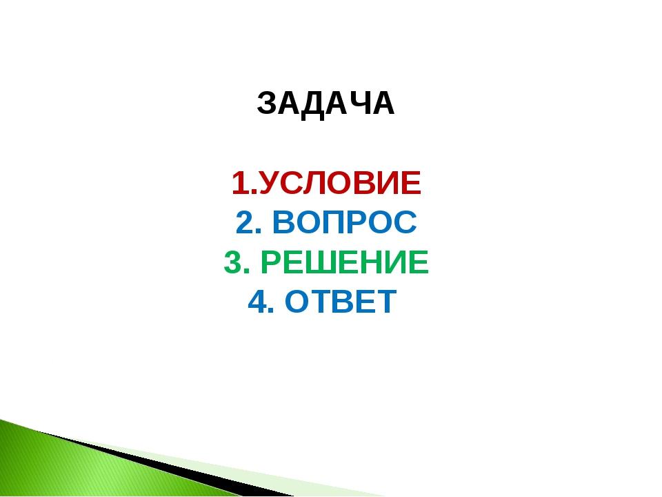 ЗАДАЧА 1.УСЛОВИЕ 2. ВОПРОС 3. РЕШЕНИЕ 4. ОТВЕТ