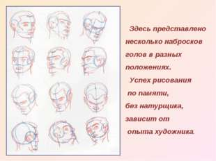 Здесь представлено несколько набросков голов в разных положениях. Успех рисо