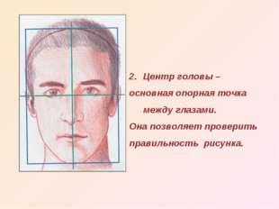 Центр головы – основная опорная точка между глазами. Она позволяет проверить