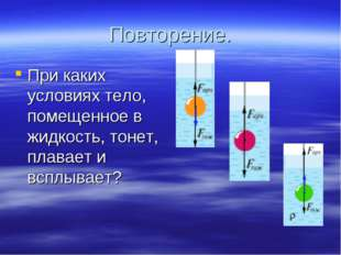 Повторение. При каких условиях тело, помещенное в жидкость, тонет, плавает и