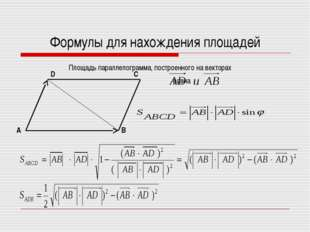 Формулы для нахождения площадей Площадь параллелограмма, построенного на вект