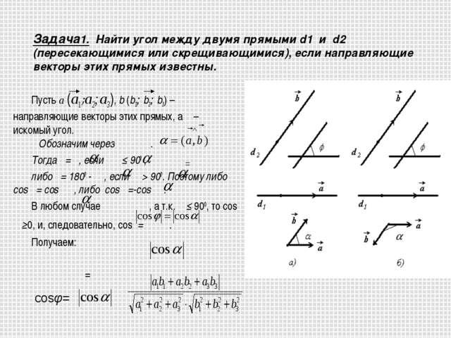Задача1. Найти угол между двумя прямыми d1 и d2 (пересекающимися или скрещив...