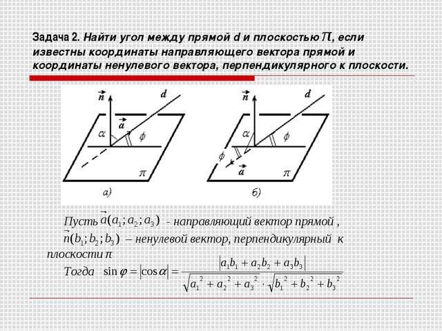 Задача 2. Найти угол между прямой d и плоскостью π, если известны координаты...