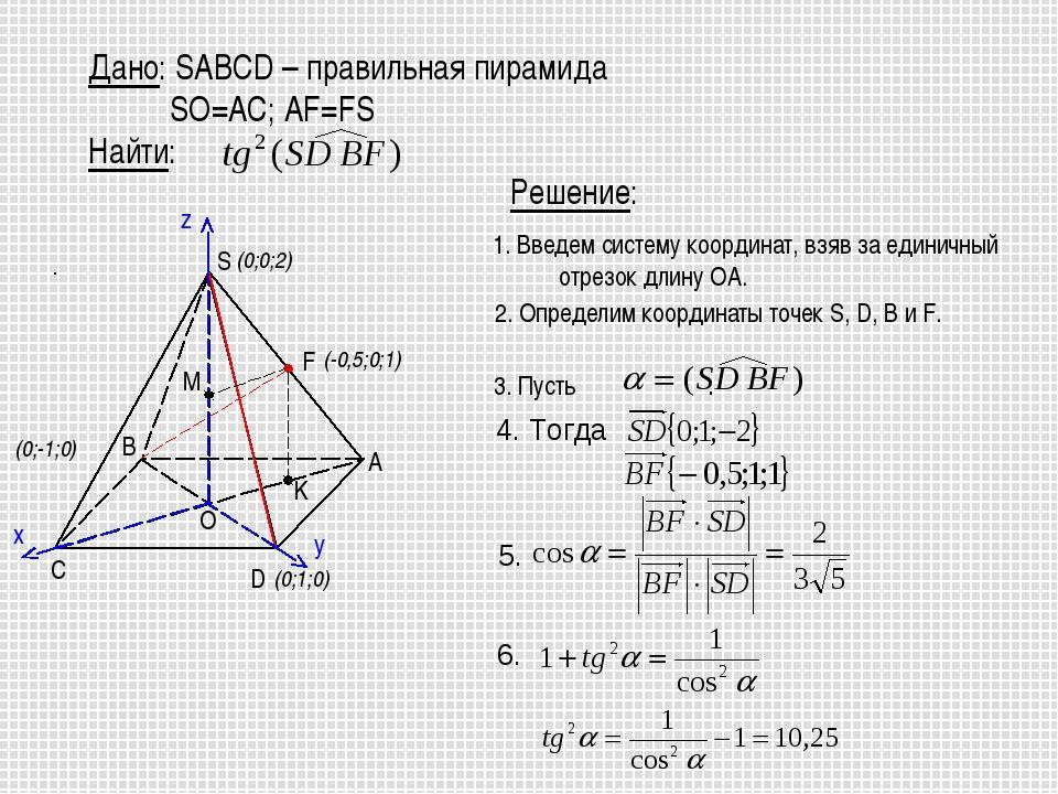 1. Введем систему координат, взяв за единичный отрезок длину OA. 2. Определим...