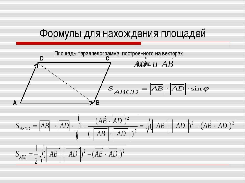 Формулы для нахождения площадей Площадь параллелограмма, построенного на вект...