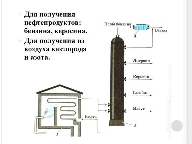 Для получения нефтепродуктов: бензина, керосина. Для получения из воздуха кис...