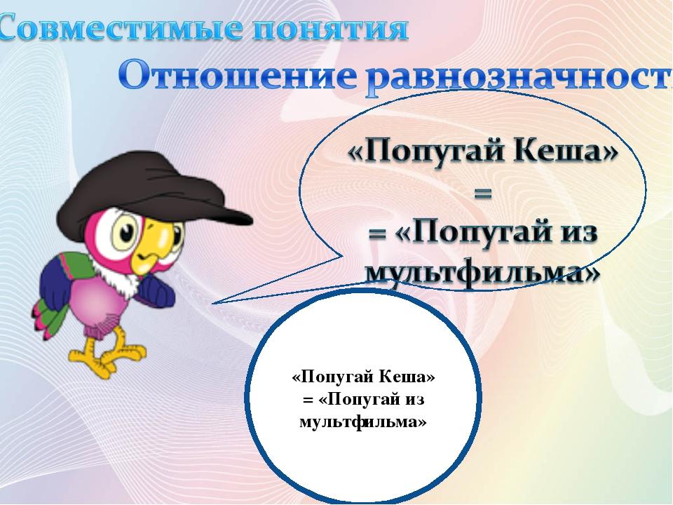 «Попугай Кеша» = «Попугай из мультфильма»