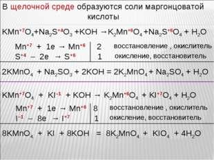 В щелочной среде образуются соли маргонцоватой кислоты KMn+7O4+Na2S+4O3 +KOH