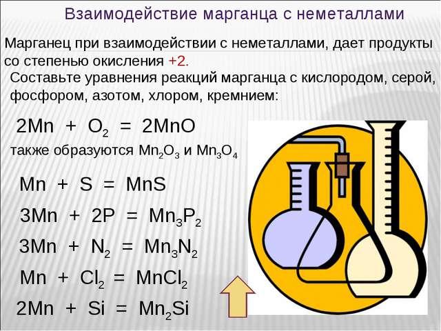 Взаимодействие марганца с неметаллами Марганец при взаимодействии с неметалла...