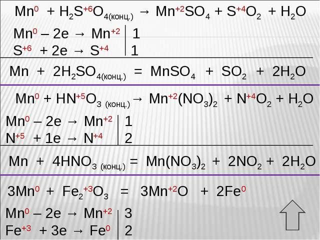 Mn0 + H2S+6O4(конц.) → Mn+2SO4 + S+4O2 + H2O Mn0 – 2e → Mn+2 1 S+6 + 2e → S+4...