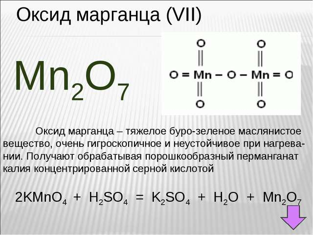 Оксид марганца (VII) Mn2O7 Оксид марганца – тяжелое буро-зеленое маслянистое...