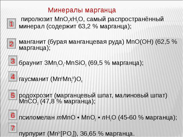 пиролюзит MnО2xH2O, самый распространённый минерал (содержит 63,2% марганца...