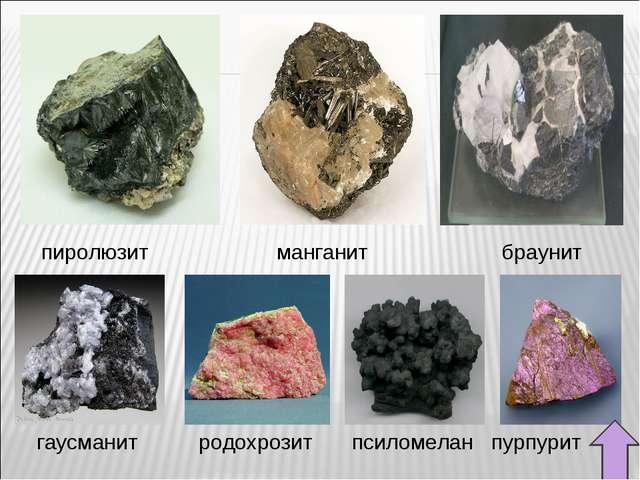 пиролюзит манганит браунит гаусманит родохрозит псиломелан пурпурит