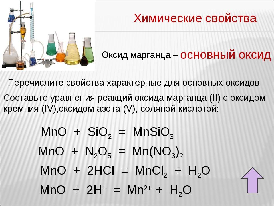 Химические свойства Оксид марганца – основный оксид Перечислите свойства хара...