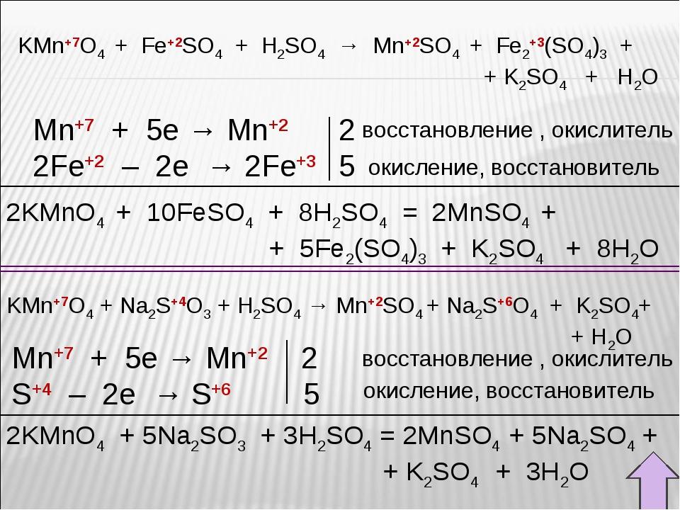 2KMnO4 + 10FeSO4 + 8H2SO4 = 2MnSO4 +  + 5Fe2(SO4)3 + K2SO4 + 8H2O Mn+7 +...